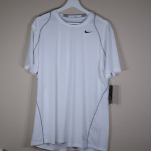 Nike Solid White Short-Sleeve Athletic Shirt